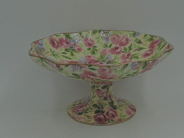 Vintage Royal Winton Chintz June Roses Compote Dish