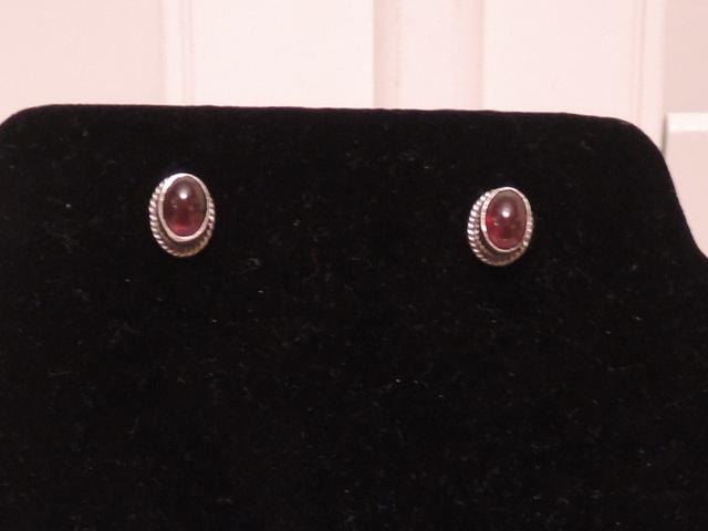 Antique Sterling Silver Garnet Earrings 925 Pierced Gemstones English