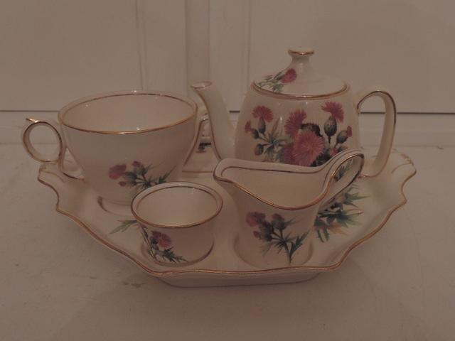 Vintage Royal Winton Scotch Thistle Breakfast Set Tea for One Teapot