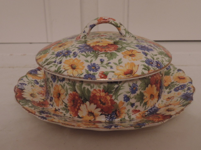 Vintage James Kent Chintz Marigold Butter/Cheese Dish Keeper