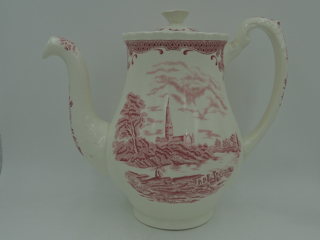 Vintage Grindley Salisbury Cathedral Red Transferware Coffee Pot/Teapot