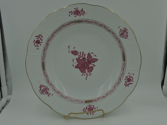 """Herend Hungary Porcelain Pink Chinese Bouquet Serving Dish/Bowl 9.5"""" Beautiful"""
