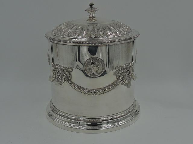 Antique Elkington & Co. Silverplate Empire Style Tea Caddy 19th C. Silver Plate