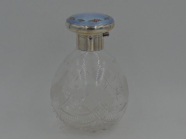 Antique Sterling Silver Blue Guilloche Enamel Lid & Cut Glass Perfume Bottle w/Dabber