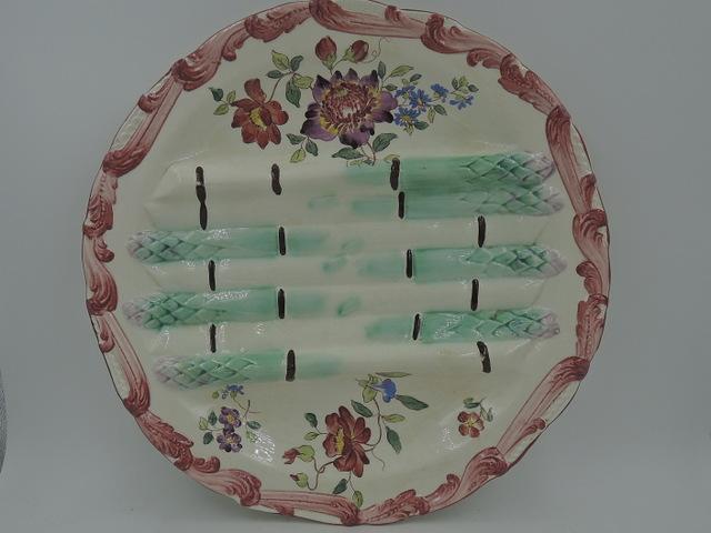 Antique French Majolica Asparagus Plate Longchamp Terre De Fer 1880's
