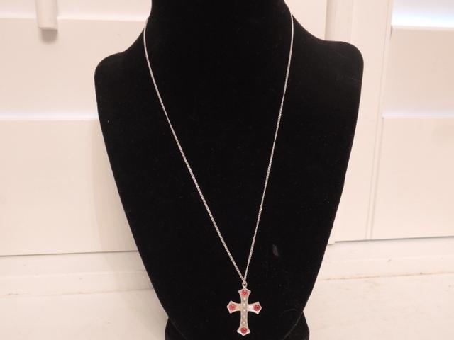 "Vintage Sterling Silver Garnet & Seed Pearls Cross & 18"" Necklace"