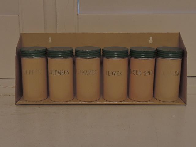 Vintage English Cream & Green Enamel Tin Spice Jars & Rack 1940's