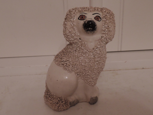 "Antique Staffordshire Poodle Dog 4.5"" High"