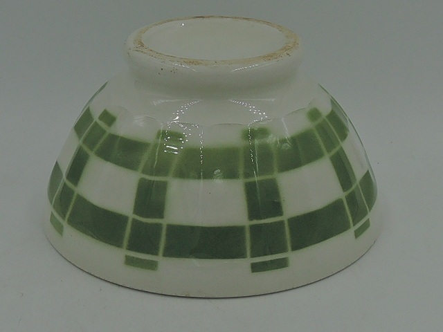 Vintage French Cafe Au Lait Bowl Pottery 1940's Green & White