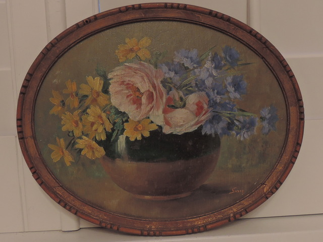 Vintage French Oil on Board Floral Still Life Painting Pink Roses Signed
