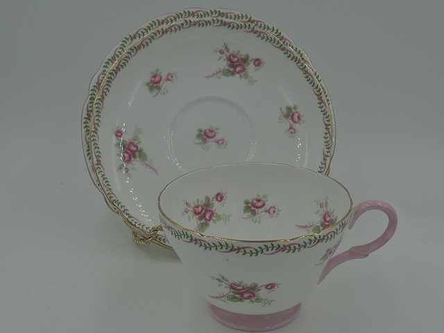 Vintage Shelley Cup & Saucer Pink Roses & Ribbon Henley Trio 12525