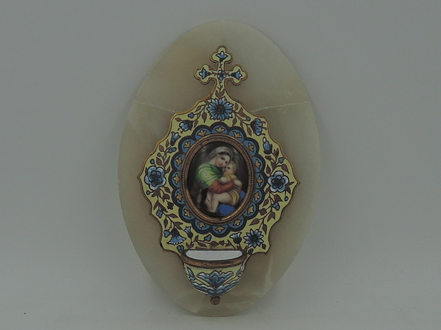 Antique French 19th C. Marble Cloisonne Enamel Holy Water Font Benetier Madonna