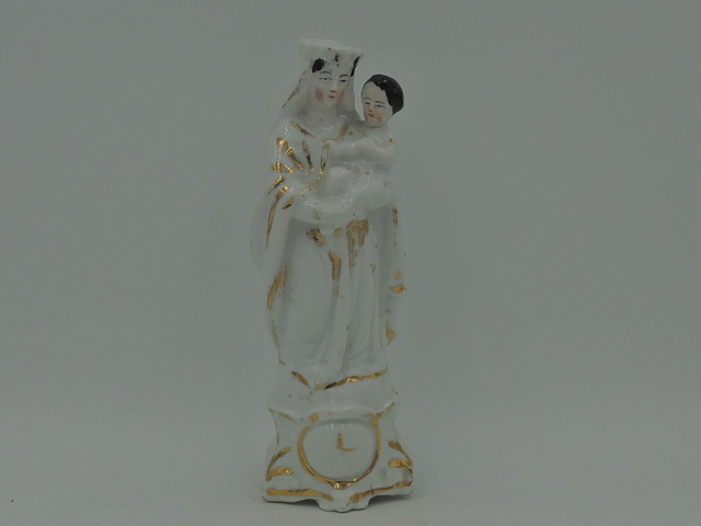 Antique French Vieux Paris Porcelain Madonna & Child Mary Jesus Statue Figurine