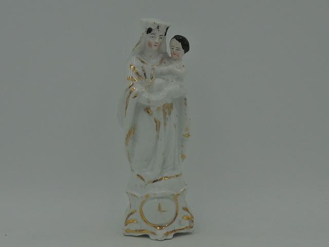 Antique French Vieux Paris Porcelain Madonna & Child Mary Jesus Statue Figurine