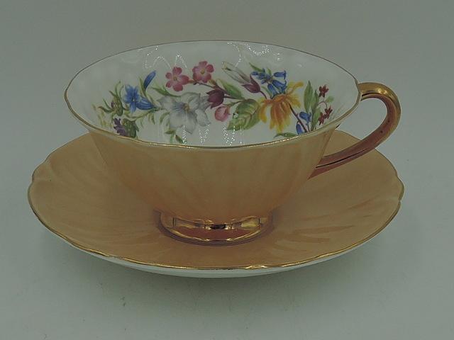 Vintage Shelley Oleander Peach Spring Bouquet Cup & Saucer 1950's  2283