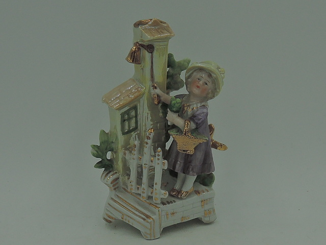 Antique Victorian German Fairing Girl w/Basket Ringing Bell 1880's