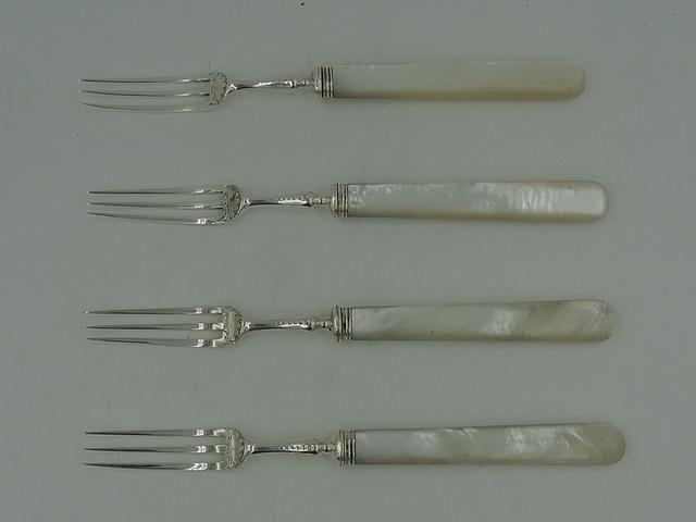 Antique Sterling Silver & Mother of Pearl Set of 4 Dessert Tea Forks 1899