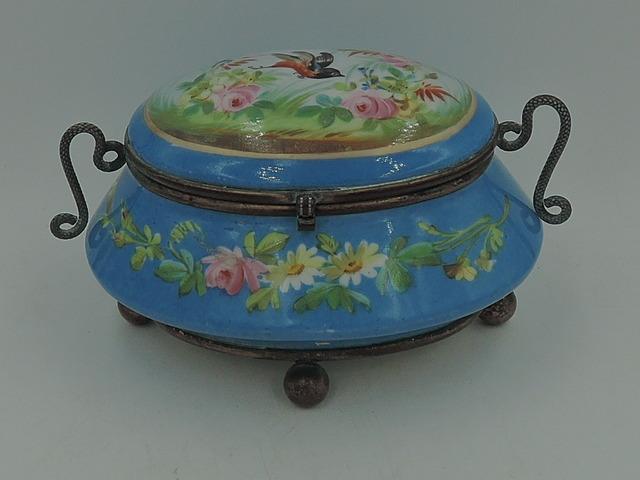 Antique French Ormolu Handled Blue Porcelain Jewelry Box Jar w/Pink Roses Bird