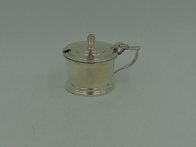 English Sterling Silver & Cobalt Blue Glass Lidded Mustard Pot Jar