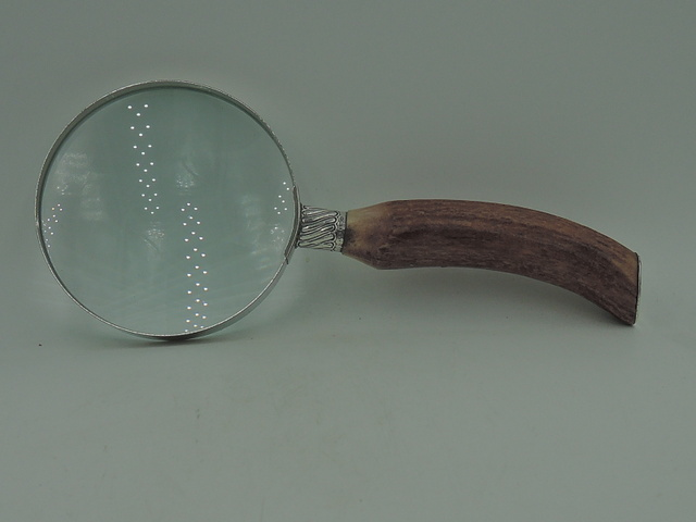 Antique Edwardian Large Sterling Silver & Horn Handle Magnifying Glass Sheffield 1906