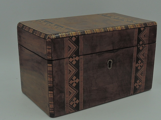 Antique English Walnut Inlay Wooden Tea Caddy Tulip Wood Banding 19th C.