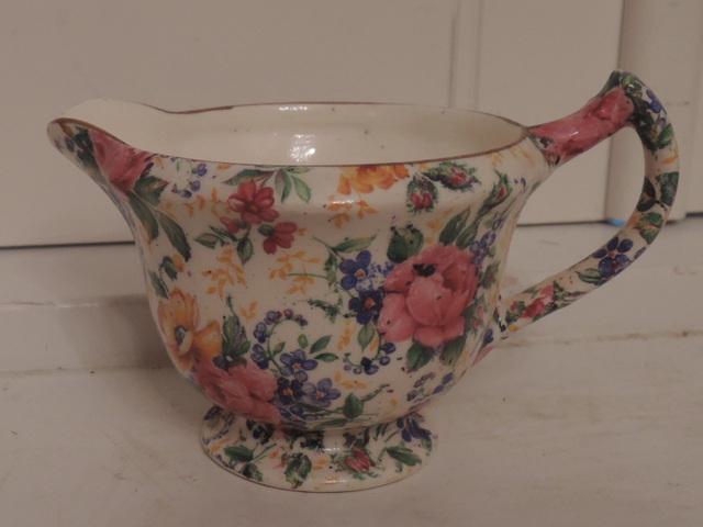 Vintage James Kent Chintz Rosalynde Creamer Pink Roses