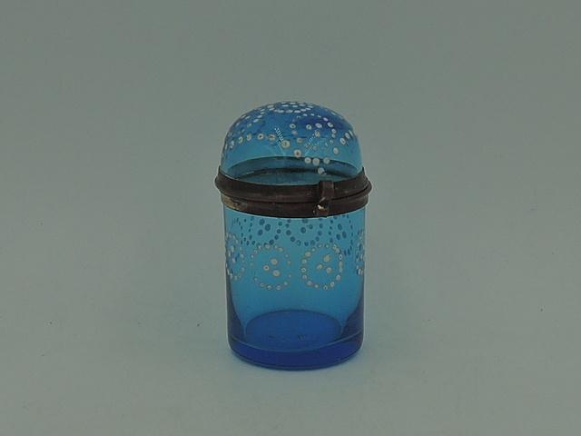 Antique French Ormolu Blue Glass Decorative Vanity Jar