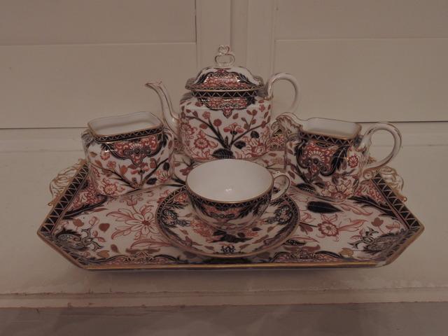 Antique Royal Crown Derby Imari Kings Pattern Cabaret Tea Set Teapot 1877 Blue Mark