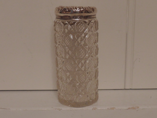 Antique English Solid Sterling Silver Lid & Cut Glass Ladies Vanity Jar 1900