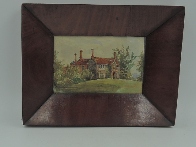 Watercolor Drayton Parslow Rectory Rev. Cyril Pearson Walnut Framed Painting