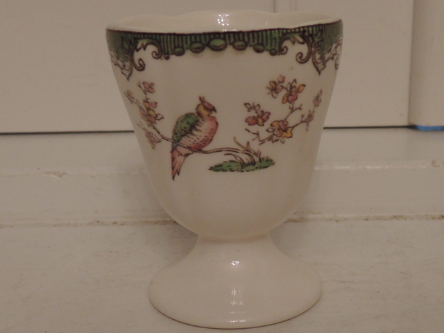 Vintage Spode Green Bird on Branch Egg Cup