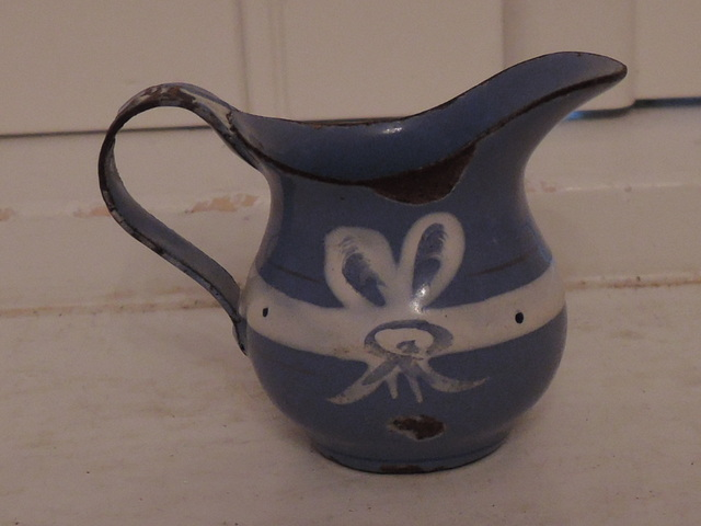Vintage French Enamel Enamelware Childs Blue & White Toy Pitcher