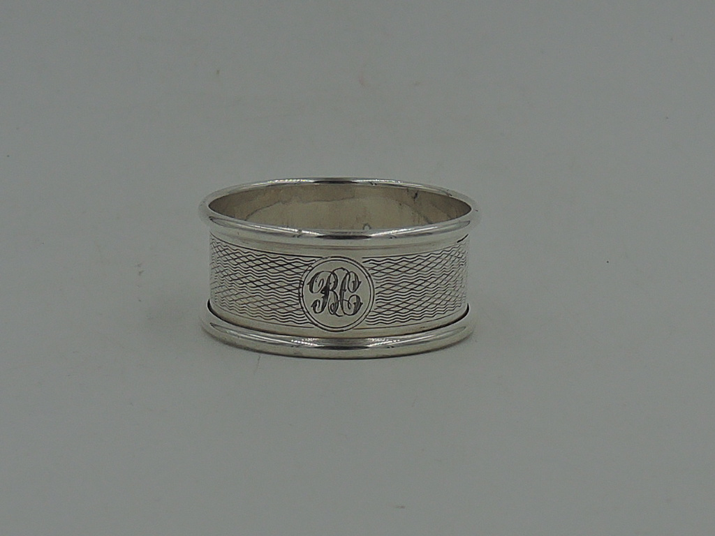 English Sterling Silver Napkin Ring Monogram BC Initial Birmingham 1934