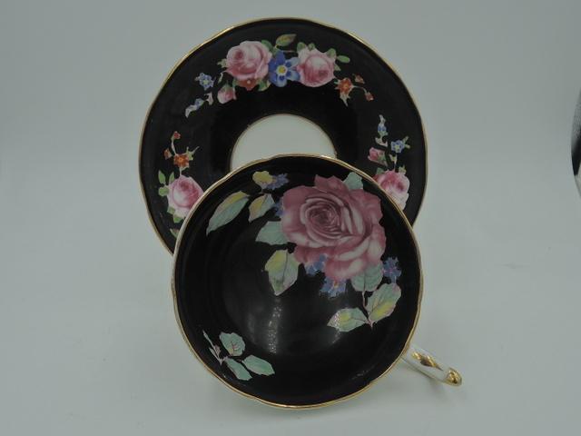 Vintage Paragon Cup & Saucer Pink Roses White & Black Double Warrant