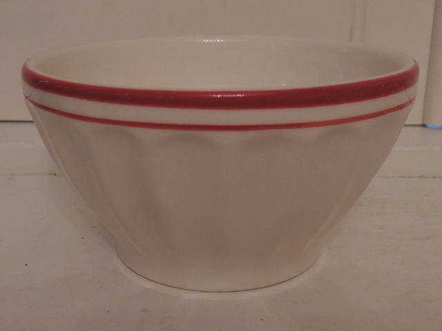 Vintage French Cafe Au Lait Large Bowl Red & White