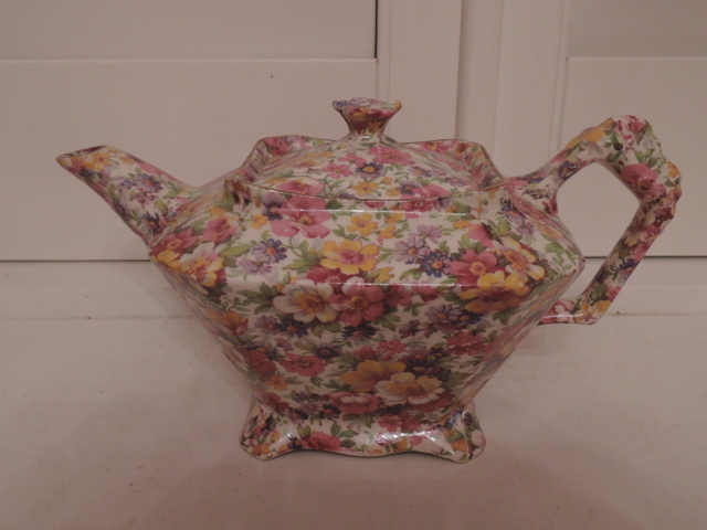 Vintage James Kent Chintz Du Barry Teapot Old Mark 4 Cups