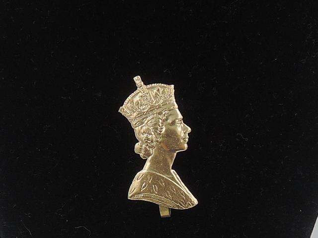 Vintage English Gold Metal Queen Elizabeth Profile Coronation Brooch Pin 1953