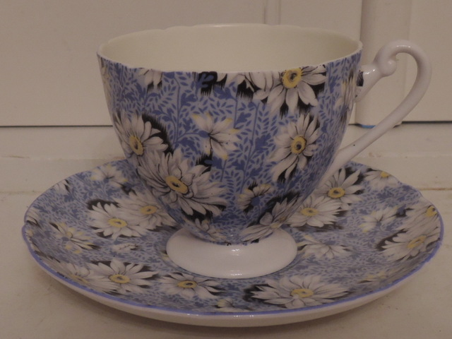 Vintage Shelley Chintz Blue Daisy Cup & Saucer Teacup