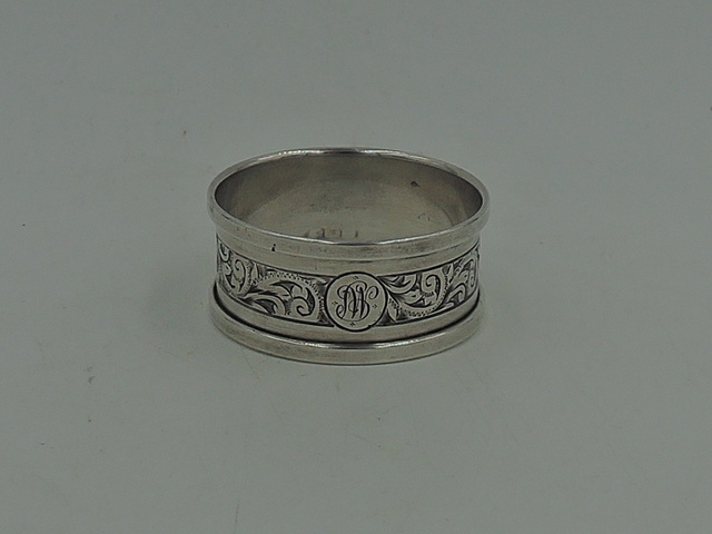 Antique English Sterling Silver Napkin Ring Monogram MP Initial 1930