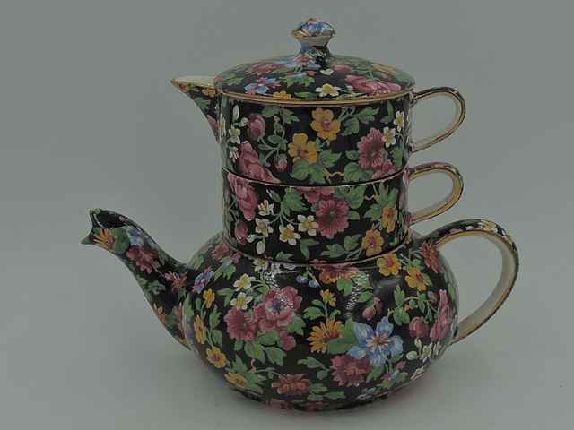 Vintage Royal Winton Chintz Esther Stacking Teapot Stacked Tea For One 1950's