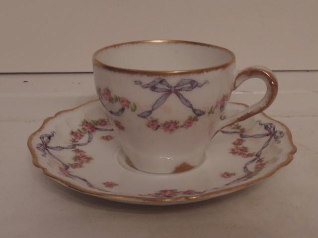 Vintage Petite Limoges Harrod's Cup & Saucer Garland Pink Roses Blue Bow Teacup