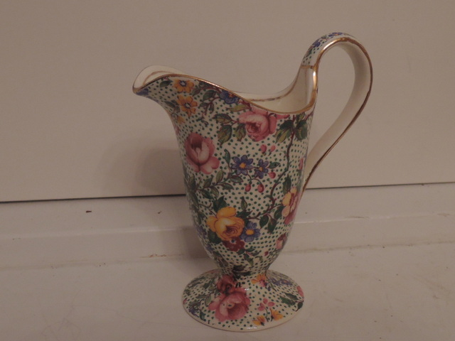 Vintage Royal Winton Chintz Cranstone Creamer Pitcher Ivory