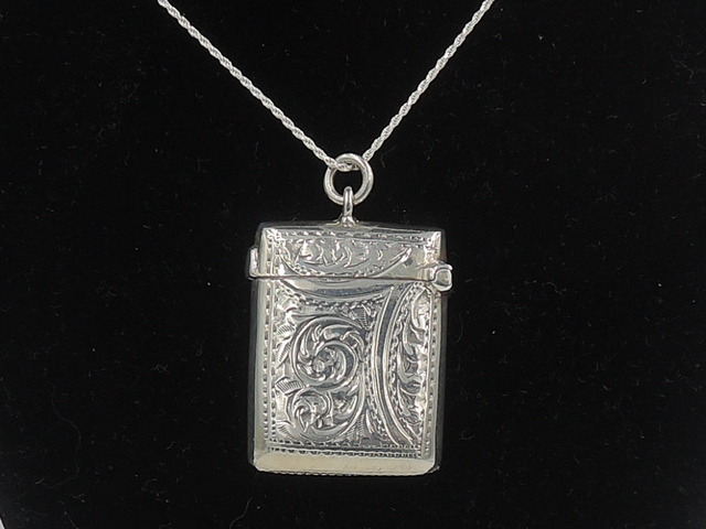 Antique English Edwardian Sterling Silver Vesta Case Match Safe 1902 Necklace