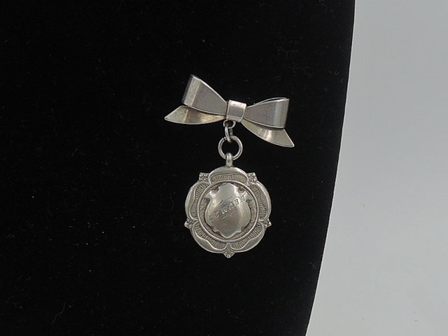 Vintage English Sterling Silver Bow & Dangling Shield Medal Brooch Pin Fob
