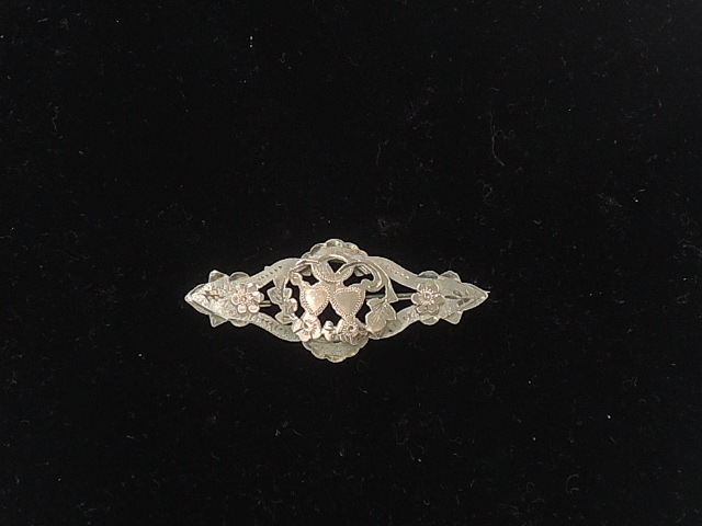 English Sterling Silver & Rose Gold Double Heart Brooch Pin Hallmarked 1920