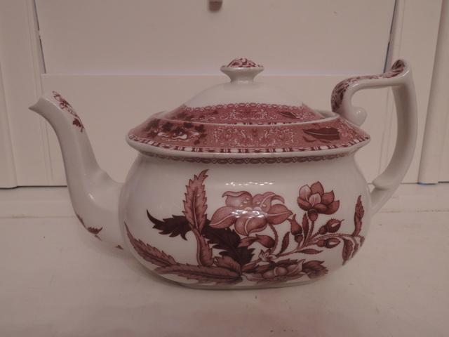 Vintage Spode Pink Camilla Red Transferware Teapot