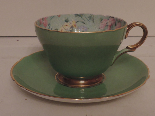 Vintage Shelley Chintz Melody Best Gold Henley Shape Green Cup & Saucer Teacup
