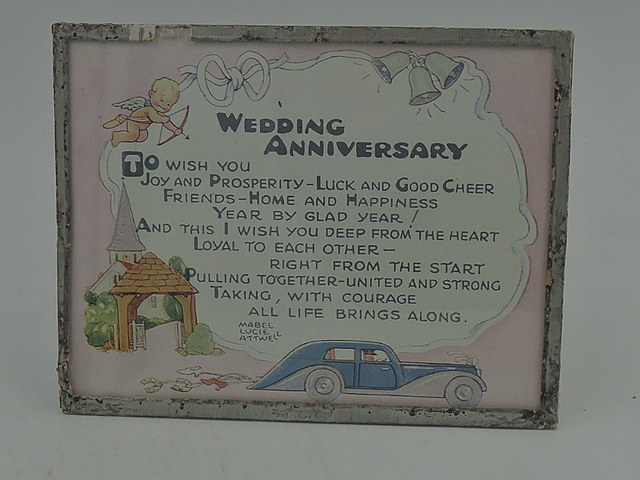 Mabel Lucie Attwell Cupid Valentines Bijou Motto Plaque Wedding Anniversary