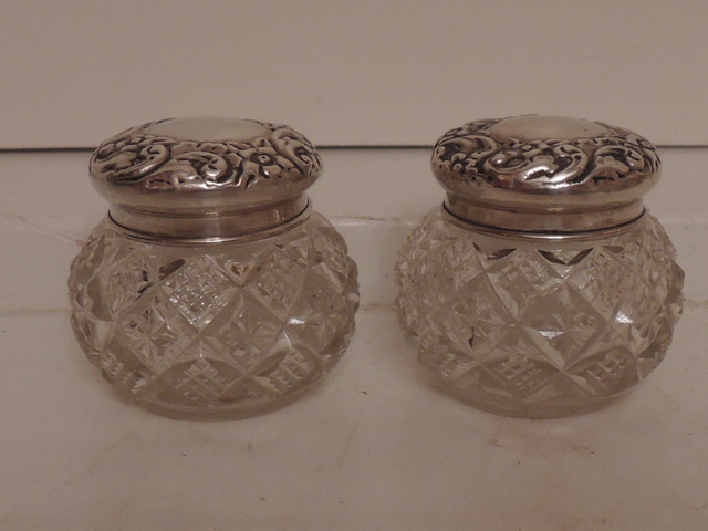 Antique English Pair of Sterling Silver Lid & Cut Glass Vanity Jars 1899