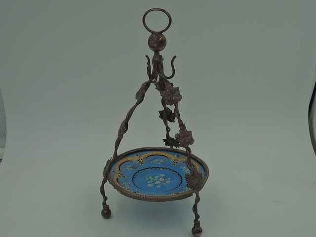 Antique French Ormolu Blue Ceramic Watch Fob Jewelry Holder Gorgeous